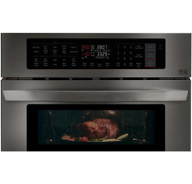 Lwc3063bd Lg 30 Smart Wifi Enabled Combination Wall Oven With Infrared Heating And Crisp Convection Black