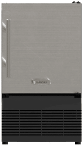 "MA14CRSCXS Marvel ADA 14"" Compact Crescent Ice Maker with Solid Smooth Black Door and Reversible Hinge - Stainless Steel"
