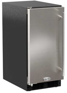 "MA15CPS2LS Marvel 15"" ADA Height Clear Ice Machine with Factory Installed Pump - 35 lbs Capacity - Left Hinge - Stainless Steel"