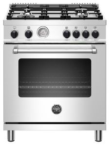 """MAST304GASXV Bertazzoni 30"""" Master Series Free Standing 4 Burner All Gas Range with Counter Deep Main Top and Extra Large High Power Infrared Gas Broiler - Stainless Steel"""