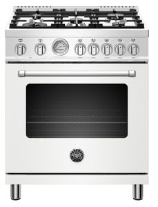 "MAST305DFMBIE Bertazzoni 30"" Master Series Free Standing  5 Burner Dual Fuel Range with Counter Deep Main Top and Electric Oven - Matt White"