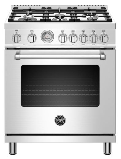 """MAST305DFMXE Bertazzoni 30"""" Master Series Free Standing  5 Burner Dual Fuel Range with Counter Deep Main Top and Electric Oven - Stainless Steel"""