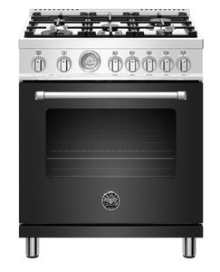 "MAST305GASNEE Bertazzoni 30"" Master Series Free Standing  5 Burner All Gas Range with Counter Deep Main Top and Extra Large High Power Infrared Boiler - Matt Black"