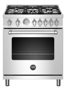 "MAST305GASXE Bertazzoni 30"" Master Series Free Standing  5 Burner All Gas Range with Counter Deep Main Top and Extra Large High Power Infrared Boiler - Stainless Steel"