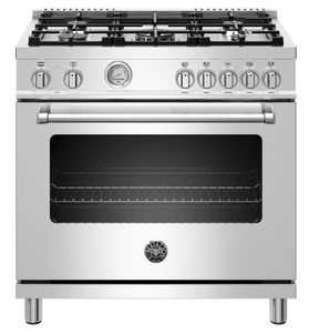 """MAST365DFMXE Bertazzoni 36"""" Master Series Free Standing 5 Burner Dual Fuel Range with Counter Deep Main Top and Electric Oven - Stainless Steel"""