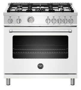 """MAST365GASBIE Bertazzoni 36"""" Master Series Free Standing 5 Burner All Gas Range with Counter Deep Main Top and Extra Large High Power Infrared Boiler - Matt White"""