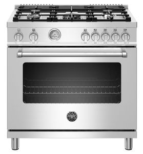 """MAST365GASXE Bertazzoni 36"""" Master Series Free Standing 5 Burner All Gas Range with Counter Deep Main Top and Extra Large High Power Infrared Boiler - Stainless Steel"""