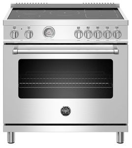 "MAST365INMXE Bertazzoni 36"" Master Series Free Standing 5 Heating Zones Induction Range with Counter Deep Main Top and Manual Clean - Stainless Steel"