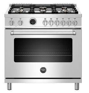 """MAST366DFSXT Bertazzoni 36"""" Master Series Free Standing 6 Burner Dual Fuel Range with Counter Deep Main Top and Self Clean Oven - Stainless Steel"""
