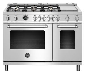 "MAST486GDFSXT Bertazzoni 48"" Master Series Free Standing Double Oven 6 Burner Dual Fuel Range with Counter Deep Main Top and Electric Griddle - Stainless Steel"