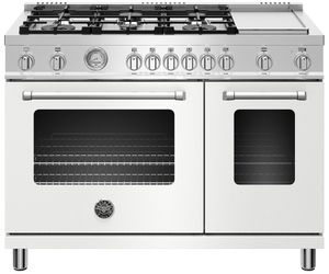 """MAST486GGASBIE Bertazzoni 48"""" Master Series Free Standing 6 Burner Double Oven All Gas Range with Counter Deep Main Top and Electric Griddle - Matt White"""