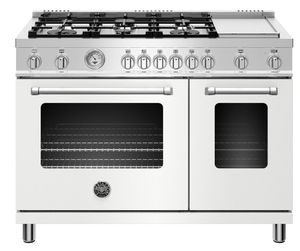 "MAST486GGASBIE Bertazzoni 48"" Master Series Free Standing 6 Burner Double Oven All Gas Range with Counter Deep Main Top and Electric Griddle - Matt White"