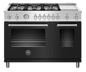 """MAST486GGASNEE Bertazzoni 48"""" Master Series Free Standing 6 Burner Double Oven All Gas Range with Counter Deep Main Top and Electric Griddle - Matt Black"""