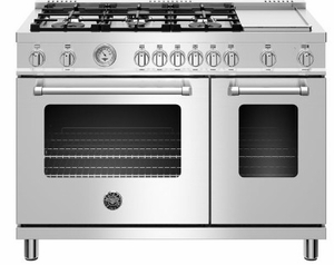 "MAST486GGASXE Bertazzoni 48"" Master Series Free Standing 6 Burner Double Oven All Gas Range with Counter Deep Main Top and Electric Griddle - Stainless Steel"