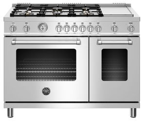 "MAST486GGASXT Bertazzoni 48"" Master Series Free Standing 6 Burner Double Oven All Gas Range with Counter Deep Main Top and Electric Griddle - Stainless Steel"
