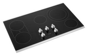 "MEC8836HS Maytag 36"" Ceramic Glass Electric Cooktop with Quick Preheat and Precise Cooking - Black with Stainless Steel Trim"