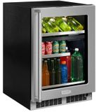 "MP24WBF4RP Marvel 24"" Professional Right Hinge Glass Frame Door Undercounter  Dual Zone Wine and Beverage Center with Dynamic Cooling Technology and Close Door Assist System - Custom Panel"
