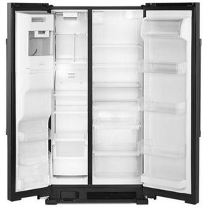 "MSS25C4MGB Maytag 36"" 25 cu. ft. Side by Side Refrigerator with Store In Door Ice and Water Dispenser - Black"