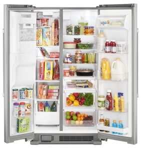 "MSS25C4MGZ Maytag 36"" 25 cu. ft. Side by Side Refrigerator with Store In Door Ice and Water Dispenser - Fingerprint Resistant Stainless Steel"