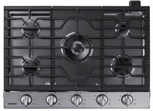 """NA30N6555TS Samsung 30"""" Gas Cooktop with 5 Sealed Burners and Blue LED Illuminated Knobs - Stainless Steel"""