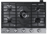 "NA30N6555TS Samsung 30"" Gas Cooktop with 5 Sealed Burners and Blue LED Illuminated Knobs - Stainless Steel"