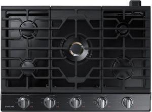 """NA30N7755TG Samsung 30"""" Gas Cooktop with 5 Sealed Burners and Blue LED Illuminated Knobs - Fingerprint Resistant Black Stainless Steel"""