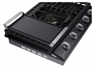 "NA30N7755TG Samsung 30"" Gas Cooktop with 5 Sealed Burners and Blue LED Illuminated Knobs - Fingerprint Resistant Black Stainless Steel"