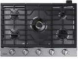 "NA30N7755TS Samsung 30"" Gas Cooktop with 5 Sealed Burners and Blue LED Illuminated Knobs - Stainless Steel"