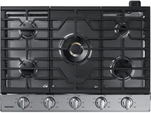 """NA30N7755TS Samsung 30"""" Gas Cooktop with 5 Sealed Burners and Blue LED Illuminated Knobs - Stainless Steel"""
