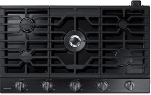 """NA36N6555TG Samsung 36"""" Gas Cooktop with 5 Sealed Burners and Blue LED Illuminated Knobs - Fingerprint Resistant Black Stainless Steel"""