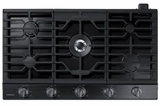 "NA36N6555TG Samsung 36"" Gas Cooktop with 5 Sealed Burners and Blue LED Illuminated Knobs - Fingerprint Resistant Black Stainless Steel"