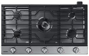 """NA36N6555TS Samsung 36"""" Gas Cooktop with 5 Sealed Burners and Blue LED Illuminated Knobs - Stainless Steel"""