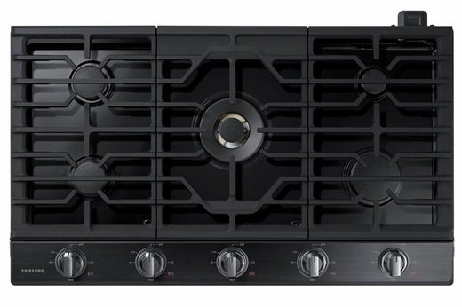 "NA36N7755TG Samsung 36"" Gas Cooktop with 5 Sealed Burners and Blue LED Illuminated Knobs - Fingerprint Resistant Stainless Steel"