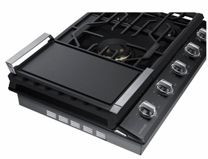 "NA36N7755TG Samsung 36"" Gas Cooktop with 5 Sealed Burners and Blue LED Illuminated Knobs - Fingerprint Resistant Black Stainless Steel"