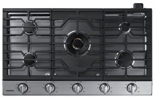 "NA36N7755TS Samsung 36"" Gas Cooktop with 5 Sealed Burners and Blue LED Illuminated Knobs - Stainless Steel"