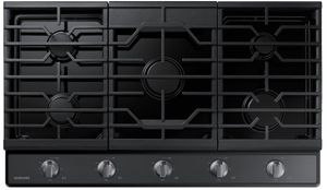 """NA36R5310FG Samsung 36"""" Gas Cooktop with Front Controls and Continuous Cast Iron Grates - Fingerprint Resistant Black Stainless Steel"""