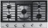 """NA36R5310FS Samsung 36"""" Gas Cooktop with Front Controls and Continuous Cast Iron Grates - Stainless Steel"""