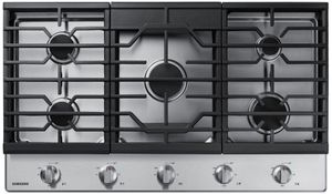 "NA36R5310FS Samsung 36"" Gas Cooktop with Front Controls and Continuous Cast Iron Grates - Stainless Steel"