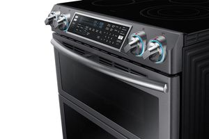 """NE58K9850WG Samsung 30"""" Flex Duo 5.8 cu. ft. Slide-In Double Oven Electric Range with Self-Cleaning Convection Oven - Black Stainless Steel"""