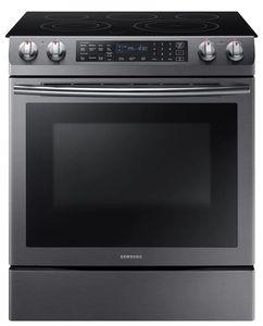 "NE58N9430SG Samsung 30"" Flex Duo 5.8 cu. ft. Slide-In Electric Range with Dual Convection Hidden Bake Element - Fingerprint Resistant Black Stainless Steel"