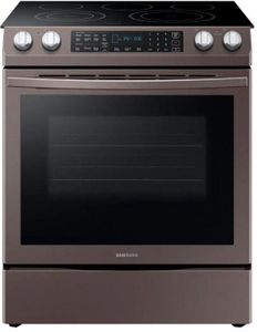 "NE58N9431ST Samsung 30"" Flex Duo 5.8 cu. ft. Slide-In Electric Range with Dual Convection and Hidden Bake Element - Fingerprint Resistant Tuscan Stainless Steel"