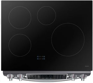 """NE58R9560WG Samsung 30"""" Induction Slide In Range with WiFi Connectivity and Virtual Flame - Fingerprint Resistant Black Stainless Steel"""