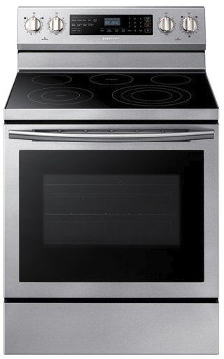 "NE59N6630SS Samsung 30"" 5.9 Cu. Ft. Freestanding Electric Range with True Convection and Flexible Cooktop  - Stainless Steel"