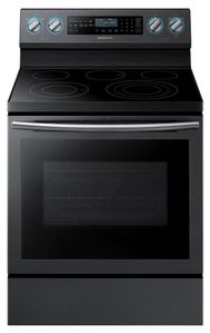 """NE59N6650SG Samsung 30"""" 5.9 Cu. Ft. Self-Cleaning Freestanding Electric Convection Range with Blue LED Illuminated Knobs and True Convection - Black Stainless Steel"""