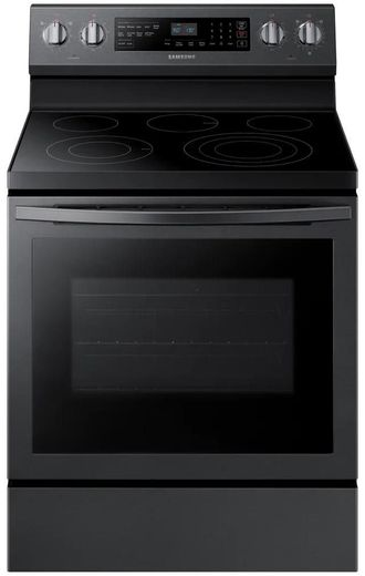 "NE59R6631SG Samsung 30"" 5.9 Cu. Ft. Freestanding Electric Convection Range with Self Clean and True Convection - Fingerprint Resistant Black Stainless Steel"