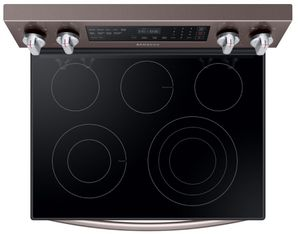"""NE59R6631ST Samsung 30"""" 5.9 Cu. Ft. Freestanding Electric Range with True Convection and Flexible Cooktop  - Fingerprint Resistant Tuscan Stainless Steel"""