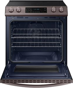 """NE63T8511ST Samsung 30"""" Front Control Wifi Enabled Slide-In Electric Range with Air Fry and Convection - Fingerprint Resistant Tuscan Stainless Steel"""