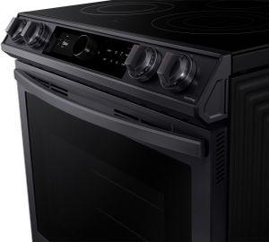 """NE63T8711SG Samsung 30"""" Front Control Wifi Enabled Slide-In Electric Range with Air Fry and Smart Dial - Fingerprint Resistant Black Stainless Steel"""