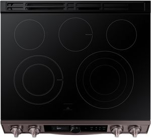 "NE63T8711ST Samsung 30"" Front Control Wifi Enabled Slide-In Electric Range with Air Fry and Smart Dial - Fingerprint Resistant Tuscan Stainless Steel"