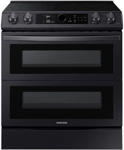 """NE63T8751SG Samsung 30"""" Samsung Flex Duo Front Control Wifi Enabled Slide-In Electric Range with Air Fry and Smart Dial - Fingerprint Resistant Black Stainless Steel"""